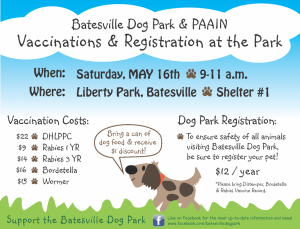 Dog Park & PAAIN Vaccinations & Registration @ Liberty Park Shelter #1