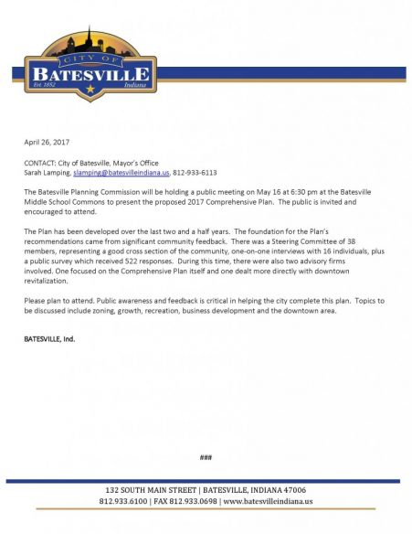 Planning Commission Public Meeting @ Batesville Middle School Commons