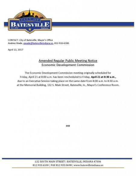 Economic Development Commission - Rescheduled Time