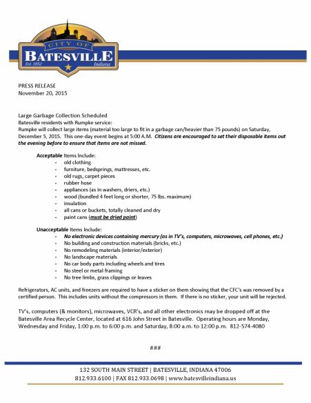 Batesville Large Garbage Pick Up
