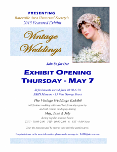 Vintage Weddings Exhibit Opening
